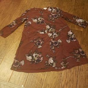 Aritzia Wilfred Crinkle Minidress Maroon Floral